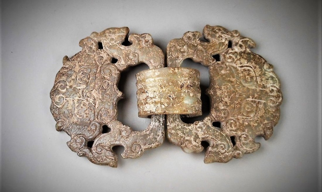 A Chinese Archaic White Jade Buckle