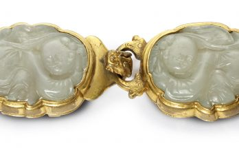 Celadon Jade Buckle Two Immortals