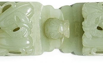A CELADON JADE BELT BUCKLE LATE QING DYNASTY